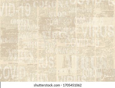Coronavirus Covid-19 news scratched grunge newspaper old paper background. Blurred newspapers corona virus texture. Grey collage textured page backdrop.