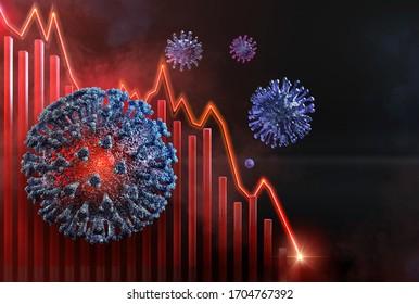 Coronavirus covid-19 pandemic impact on global economic recession, financial crisis, stock market crash, world economy decrease, unemployment. Corona virus flu cells, shutdown charts collapse 3D image