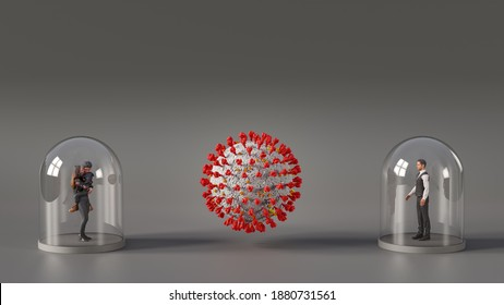 Coronavirus Covid19 protection - Women with Child and Man under glass cover - Social distancing concept. 3D Illustration - People are 3D Models with CC0-License