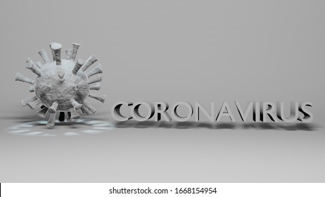 Coronavirus Covid-19 virus white color with Coronavirus name text on total white background with a cold light spot on virus