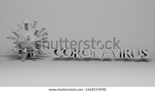 Coronavirus Covid-19 virus white color with Coronavirus name text on total white background