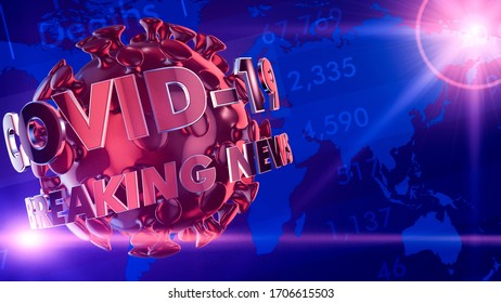 coronavirus emergency, breaking news intro (3d render)