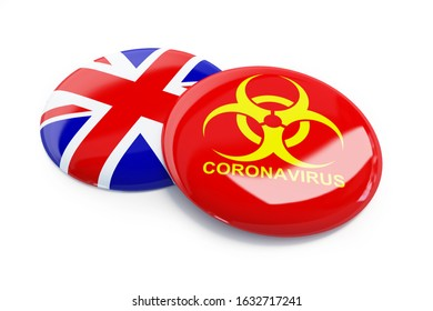 coronavirus in England, UK on a white background 3D illustration, 3D rendering