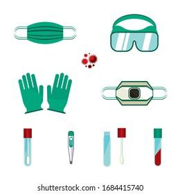 Coronavirus protection. Medical mask and protective gloves