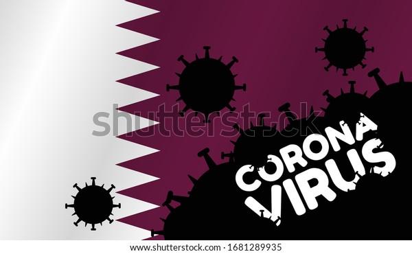 Ilustracion De Stock Sobre Coronavirus En Qatar Bandera De 1681289935