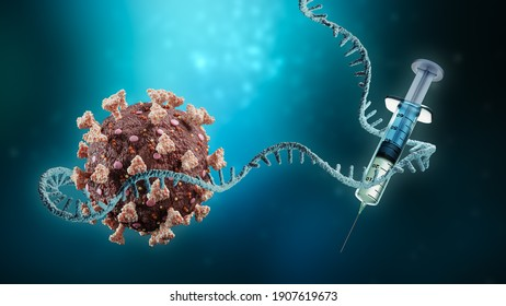 Coronavirus or sars-cov-2 virus cell with messenger RNA or mRNA and syringe on blue background 3D rendering illustration with copy space. Vaccination or vaccine, immunity, medical technology concepts.