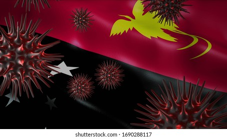 A coronavirus spinning with Papua New Guinea flag behind as epidemic outbreak infection in Papua New Guinea