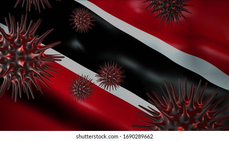 A coronavirus spinning with Trinidad Tobago  flag behind as epidemic outbreak infection in Trinidad Tobago