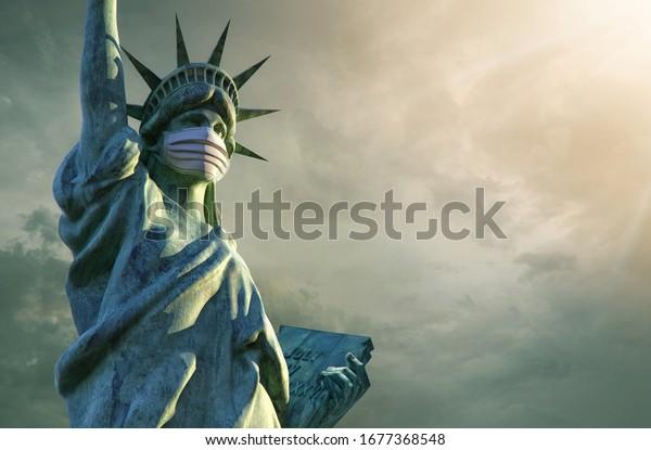 Coronavirus in the United States. 3D Statue of Liberty in medical mask. Pathogen coronavirus flu covid-19 outbrake in United States of America, corona virus pandemic US quarantine background concept