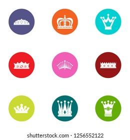 Coronet icons set. Flat set of 9 coronet icons for web isolated on white background