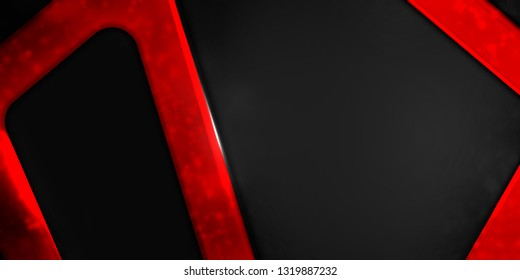 Corporate abstract red and black background, copy space banner.