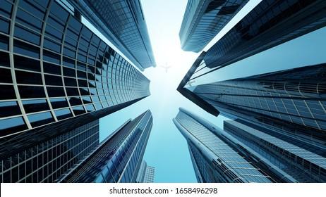 Edificio corporativo en el centro de la ciudad con Sun Light y Volando. Representación 3D