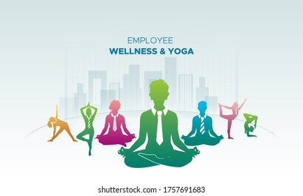 Corporate business executive/employee yoga and wellness concept background, 21 June-international yoga day, abstract colorful people icon and meditation body posture Illustration