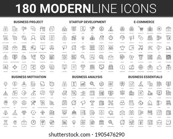 Corporate business startup illustration. Flat thin line icon set of financial data technology, success strategy for development of business finance investment, successful project start symbols