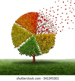 Corporate change and changing market concept and losing business pie chart as an aging green tree with leaves turning yellow to red and falling off as a transition metaphor as a financial chart.