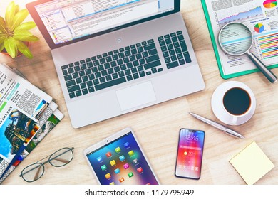 Corporate communication and business work success development concept: 3D render of laptop or notebook, tablet computer PC with internet web app on screen, smartphone or mobile phone, eyeglasses
