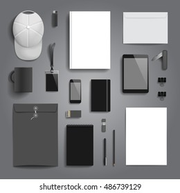 Corporate identity stationery objects mock-up template.