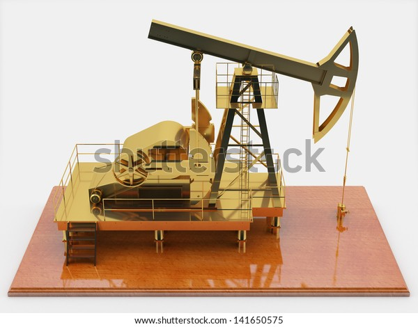 Corporate Souvenir Gold Oilproducing Pump On Stock