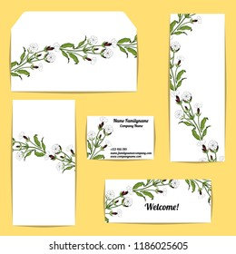 Corporate style templates with floral motifs on yellow background. colorful campion flowers.