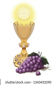 Corpus Christi, gold chalice with Holy Wafer