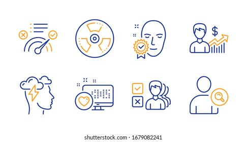 Correct answer, Mindfulness stress and Business growth line icons set. Face verified, Heart and Chemical hazard signs. Opinion, Find user symbols. Approved, Cloud storm. Business set.