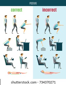 Correct and incorrect posture flat icons with men in standing sitting and lying poses isolated  illustration