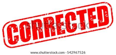 corrected red stamp on white background stock illustration 542967526