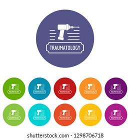 Correction traumatology icons color set for any web design on white background