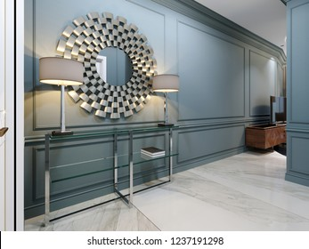 The corridor in the apartment with a modern metal console with glass shelves and luminous lamps and a round mirror on the wall. Hall corridor interior design, blue walls and white doors. 3d rendering