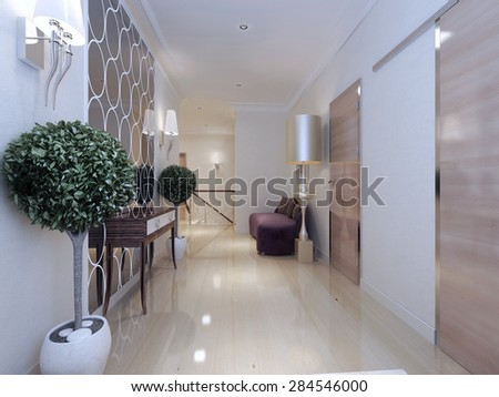 Royalty free stock illustration of corridor art deco style 3 d