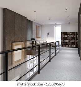The corridor with glass railings on the second floor, leading to a recreation area and a library. Duplex apartment in the style of a loft. 3d rendering.