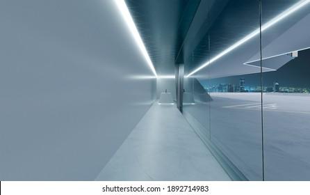 Corridor of modern office with display tabletop. 3D rendering