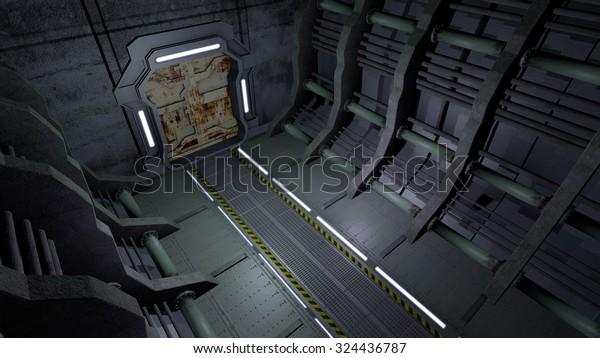 Corridor with rusty doors. 3D rendering