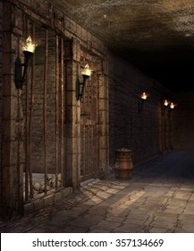 Corridor with torches, barrels and skulls in a castle dungeon