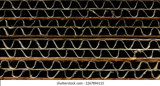 corrugated cardboard for packing. high contrast abstract background horizontal lines with wavy lines of beige color,illustration of Side View Corrugated Cardboard,Corrugated Cardboard close-up