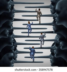 Corrupt system concept and dishonest organization idea as a group of business people climbing a ladder shaped with fraudulent leadership with long liar noses as a metaphor for corporate corruption.