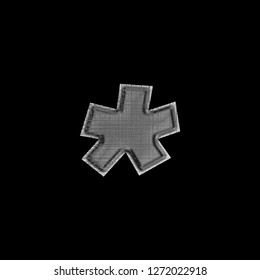 Corrupted glitchy black metal asterisk or star shape symbol in a 3D illustration with a dark metallic rough glitch textured tech effect basic bold font isolated on a black background