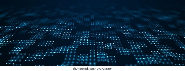 Corrupted network or connection. Abstract digital background of points and lines. Glowing plexus. Big data. Computer matrix. Futuristic cyber background of particles. 3d rendering.