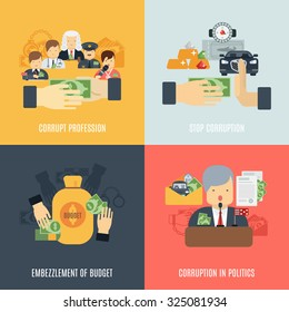 Corruption design concept set with budget embezzlement flat icons isolated  illustration