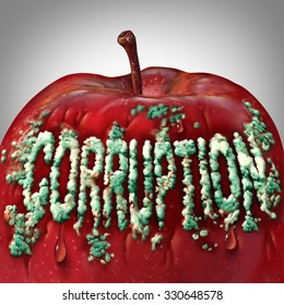 Corruption symbol and rotten to the core concept as mold or fungus shaped as text on an apple representing the criminal act of bribery and fraud as a legal metaphor for dishonest immoral behavior.