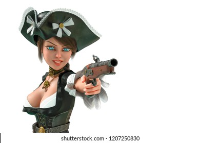 corsair girl in a white background will put some fun in yours creations 3d illustration