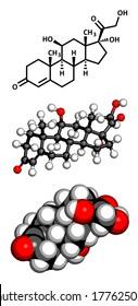 Cortisol (hydrocortisone) stress hormone molecule. Three representations: 2D skeletal formula, 3D ball-and-stick model, 3D space-filling model.