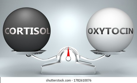 Cortisol and oxytocin in balance - pictured as a scale and words Cortisol, oxytocin - to symbolize desired harmony between Cortisol and oxytocin in life, 3d illustration