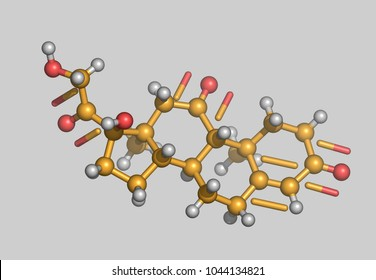 Cortisone molecules 3D rendering