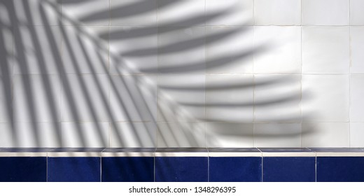 Cosmetic background for product presentation. Blue Moroccan ceramic tile step and white rustic ceramic tile with shadow of leaf. 3d rendering illustration.