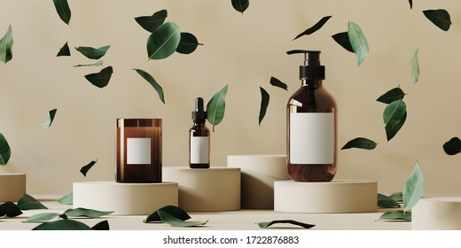 Cosmetic background for product presentation. Cosmetic bottle on beige paper podium. Falling green leaves on beige background. 3d rendering illustration.