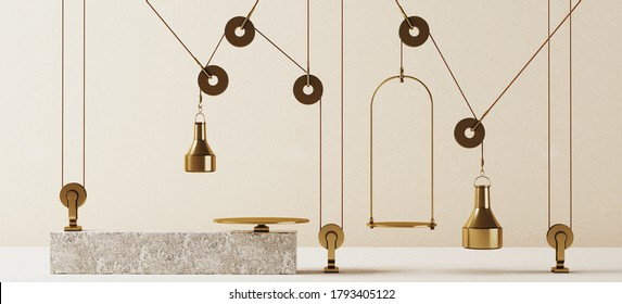 Cosmetic background for product presentation. Brass product tray balancing equilibrium with brass counterweight and pulley mechanism. 3d rendering illustration. Clipping path of each element included.