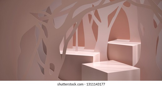Cosmetic background for product  presentation. Cream color podium with silhouette of tree paper-cut. Modern minimal product stage. Fashion magazine illustration. 3d render illustration.