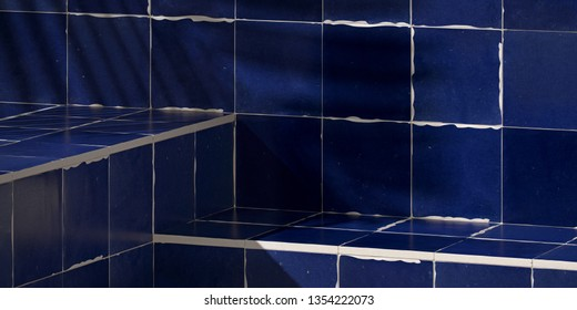 Cosmetic background for product presentation. Dark Blue rustic Moroccan ceramic tile step with shadow of leaf. 3d rendering illustration.