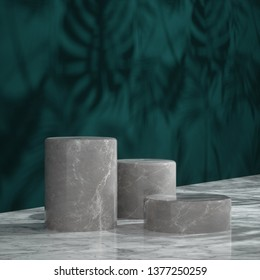 Cosmetic background for product presentation and fashion magazine. white marble podium on dark green wall scene with shadow of leaf. Minimal geometric shape. 3d rendering illustration.